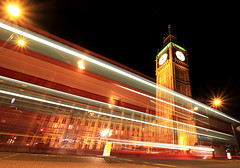 London's Parliament Lights (` Toshio ') Tags: auto longexposure greatbritain england building bus london clock westminster architecture night unitedkingdom bigben clocktower vehicle parliment laws houseoflords palaceofwestminster houseofcommons toshio platinumheartaward lightsream