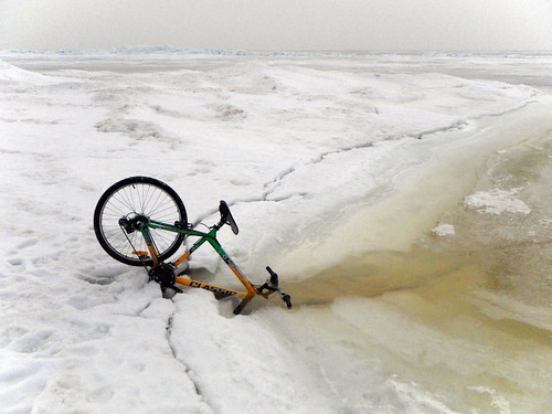 Bicycle dives into ice crack