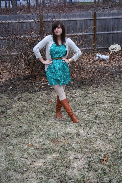 teal, bows, dress, boots