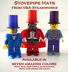Custom Stovepipe hats in Royal Blue, Scarlet and Deep Purple