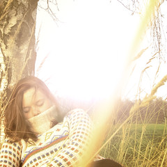 (TinaCathou) Tags: light portrait sun selfportrait girl grass self square meadow knitted