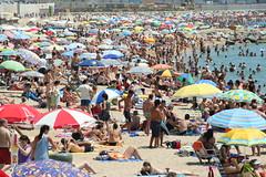 Let's call the summer (Barcelona crowded beach) (feradz) Tags: barcelona sea summer people beach spain crowd playa tourist catalonia barceloneta marbella bogatel