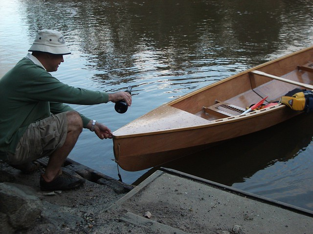 Jack Launches His Eureka Canoe Built In Adelaide