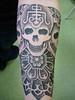 dotwork skull by calypso tattoo (Needles and Sins (formerly Needled)) Tags: tattoo skull belgium blackwork stippling calypsotattoo danieldimattia dotwork