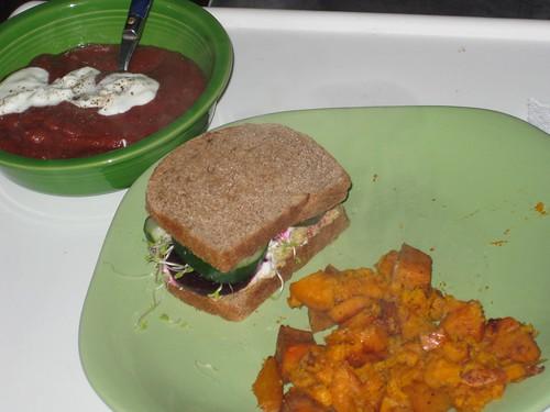 Hummus sandwich, parsnip soup, roasted sweet potatoes