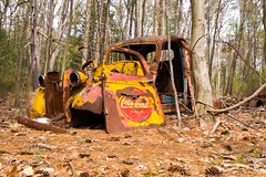 Coca-cola pick up truck (DjD-567) Tags: abandoned rotting yellow truck manchester 1930s woods rusty coke nh cocacola heap