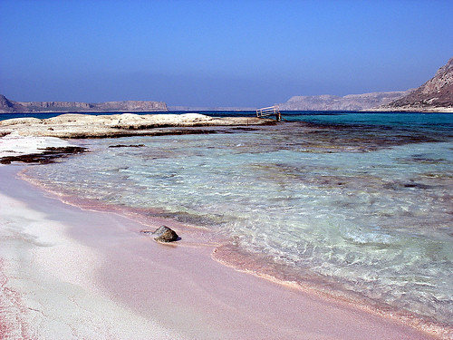 Pink-sand beach in Greece.