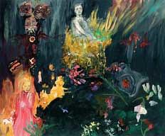 דמות ורודה וגבר באפור עם פרחים