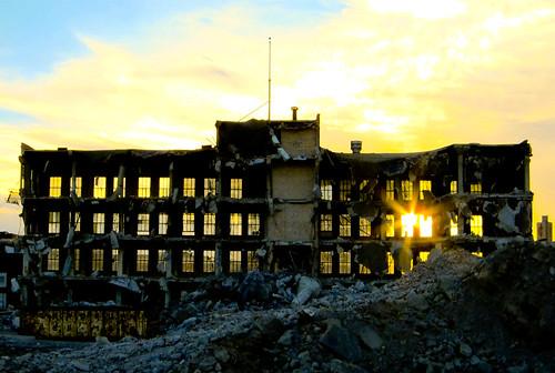 フリー写真素材, 建築・建造物, 廃墟, 夕日・夕焼け・日没, アメリカ合衆国,