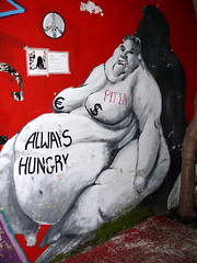 Always Hungry (Toni Kaarttinen) Tags: street woman streetart art naked graffiti breasts euro fat stomach athens pizza belly greece grecia atenas dollar always hungry bellybutton griechenland grèce obese enormous athen grécia athènes elláda atene ateena ελλάδα athína hellás αθήνα ἑλλάσ
