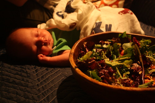 Baby with salad