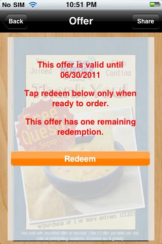 redeem offer