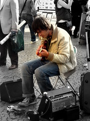 Blues (kamahan13) Tags: musician white playing black color cigarette blues soul fade soulful