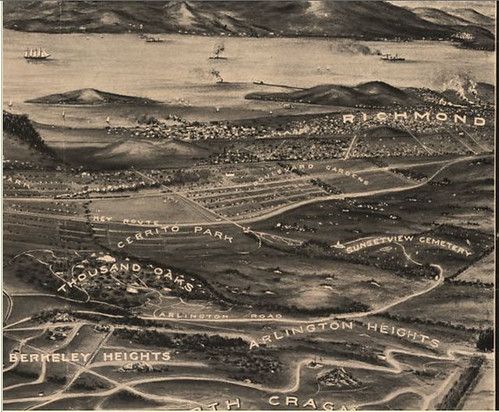 This is a section of a map of Berkeley believed to be from 1909 and drawn from a viewpoint somewhere around what is now Grizzly Peak.