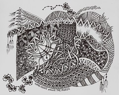 Hippos Floats Among the Reeds (molossus, who says Life Imitates Doodles) Tags: art journal zia tangle zentangle zendoodle papayaart zentangleinspiredart