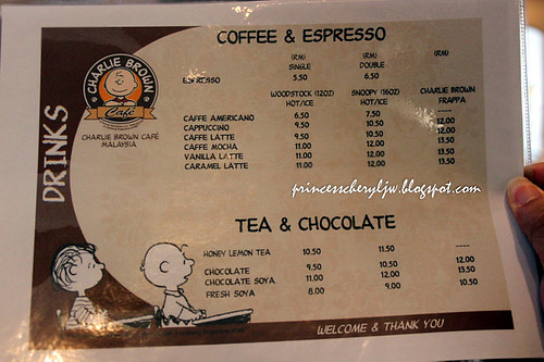 Charlie Brown Cafe - menu 01