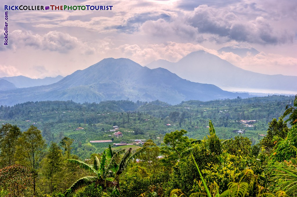 Bali landscape view framed by Mount Bratur and Lake Bratur in the distance