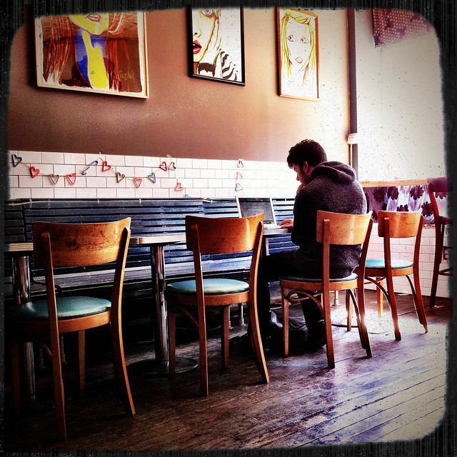 Photograph by Jorge Quinteros at Little Skip Coffee Shop in Bushwick Brooklyn