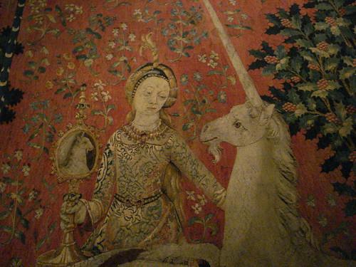 Dame a la licorne unicorn einhorn tapestry woven handspun wool