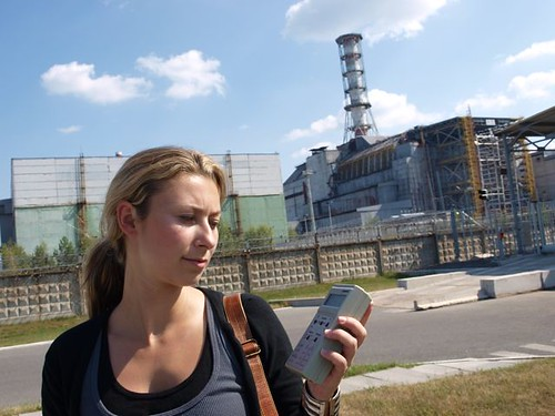 Julia Dimon in front of nuclear reactor