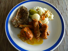 Steak and Ribs (knightbefore_99) Tags: food hot mexico lunch rice sunny onions pork mexican steak ribs oaxaca tropical spicy huatulco