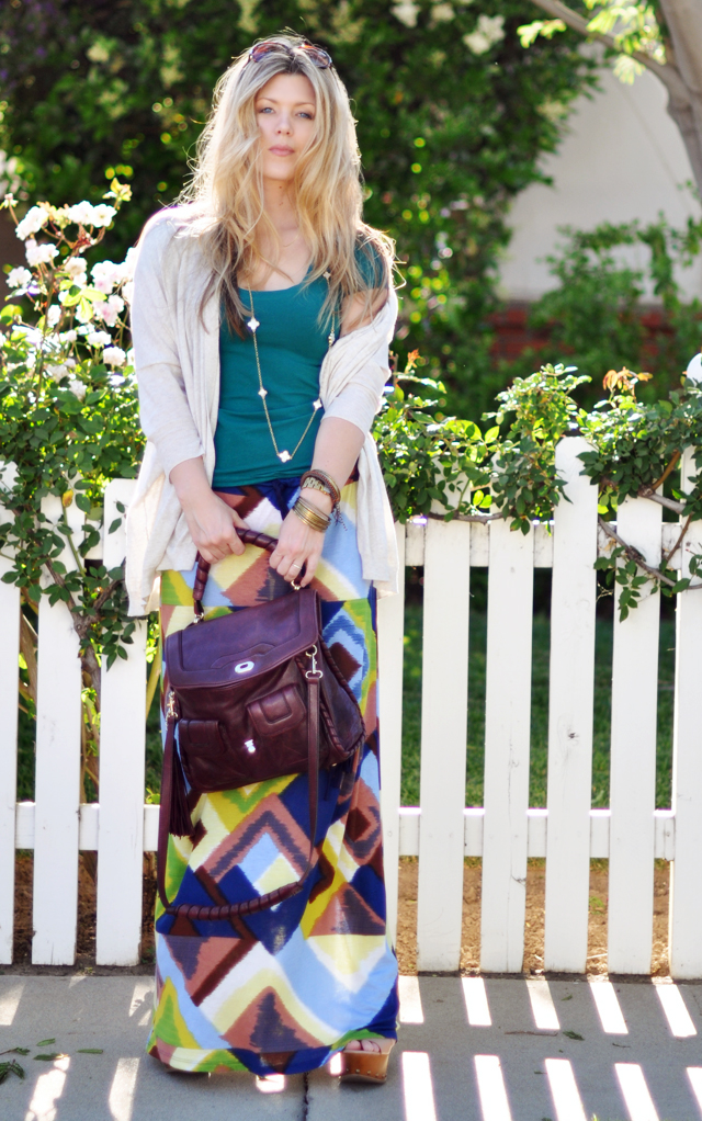 ikat maxi  skirt and t-shirt