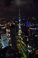 Oriental Pearl Tower (Mark Liddell) Tags: world china tower water night skyscraper river lights asia neon cityscape republic waterfront skyscrapers shanghai centre jin chinese center east peoples mao pearl  oriental pudong financial  bund jinmao embankment  huangpu   lujiazui