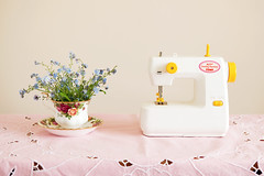 My first sewing machine (Pygmy Cloud) Tags: uk pink flowers grandma cloud london home childhood start easter toy diy kid remember child play handmade embroidery memories craft visit beginning memory nostalgic forgetmenot tablecloth playtime teacup granny sewingmachine embroidered saucer tomy gan popo pygmy tomytoy myfirstsewingmachine tomymyfirstsewingmachine