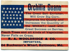 Orchilla Guano The Great Soil Enricher (Alan Mays) Tags: old blue trees red white vegetables grass vintage ads advertising stars md corn berries antique stripes wheat maryland patriotic baltimore flags ephemera advertisements guano manure companies wooldridge importers buchananswharf tradecards fertilizers rawooldridgeco orchillaguano