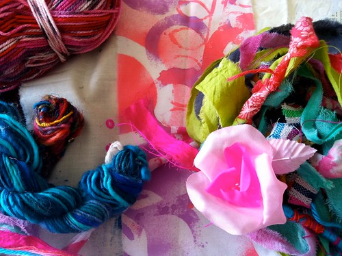 yarn..string..vintage flowers...dyed fabric..unique bindings!