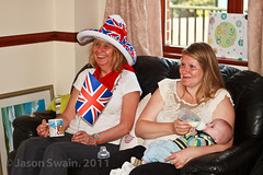 Royal Wedding Party Shots #32 (s0ulsurfing) Tags: uk family blue wedding red party england baby white cute english smile fun infant britain hats royal patriotic william flags masks british patriotism unionjack celebrate princewilliam bunting royalwedding 2011 s0ulsurfing familyuk gettyroyalweddinguk