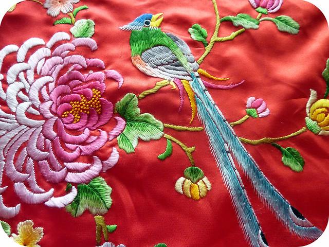 hand embroidery on vintage kimono