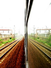 Collateral. (barnie1990) Tags: reflection window colors speed train different crossing sony railway rush sin rails h20 ablak vonat vágány