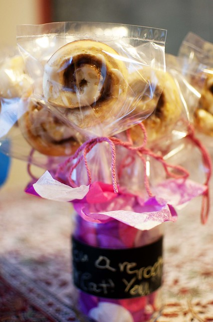 cinnamon rolls in a jar pink