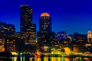Dusk Over Boston's Financial District Skyline