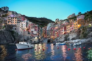 Riomaggiore At Dusk - (Cinque Terre, Italy)