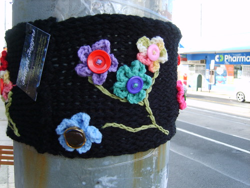 Yarn Bomb - Pole for Fine & Dandy by Twilight Taggers