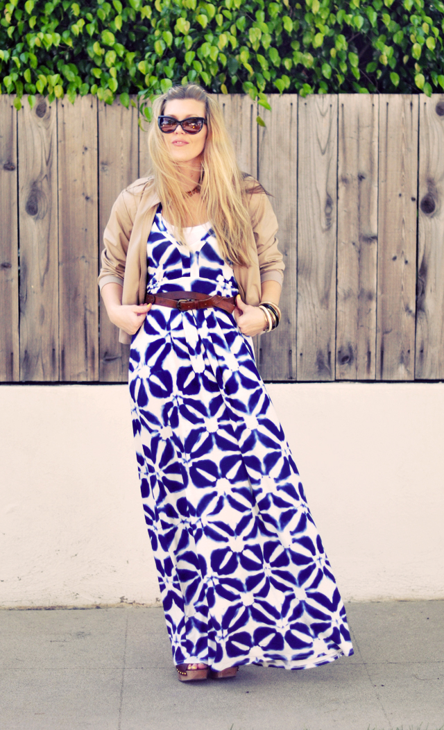blue and white    maxi  dress + london fog jacket