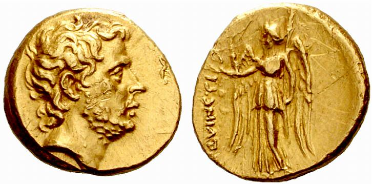 An Excessively Rare and Highly Important Roman Republican Gold Stater of Titus Quinctius Flamininus, the First Numismatic Portrait of a Living Roman Citizen, a Coin of the Highest Interest and Prestig