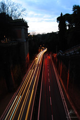 Speeding (Shpadette) Tags: street light sky rome roma muro cars speed nikon long exposure colours villa borghese torto d3000 shpadette siuan