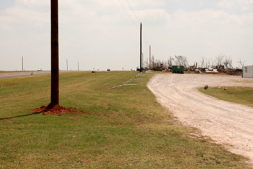 Just a week short of the storm telephone poles were replaced