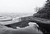 Stewart River Meets Lake Superior (Timages Gallery) Tags: longexposure blackandwhite bw lake water minnesota fog dawn rocks waves shoreline shore northshore mn lakesuperior twoharbors stewartriver