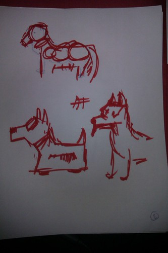page 2 drawings of robots and dogs