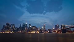 View from Brooklyn (Rickuz) Tags: city nyc usa newyork reflection water night america reflections river freedom scenery nightscape manhattan american hudsonriver hudson
