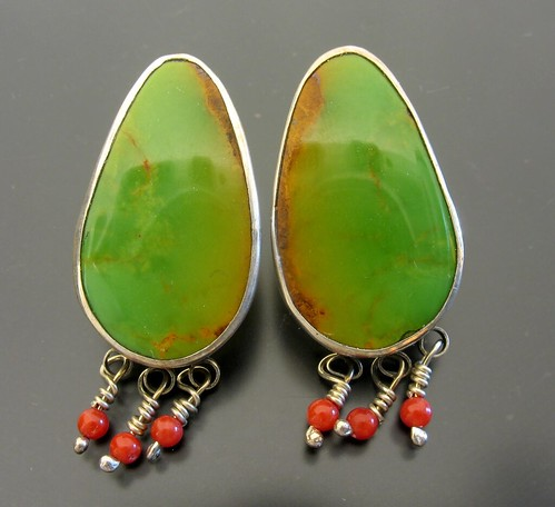 Green Turquoise and Coral Earrings