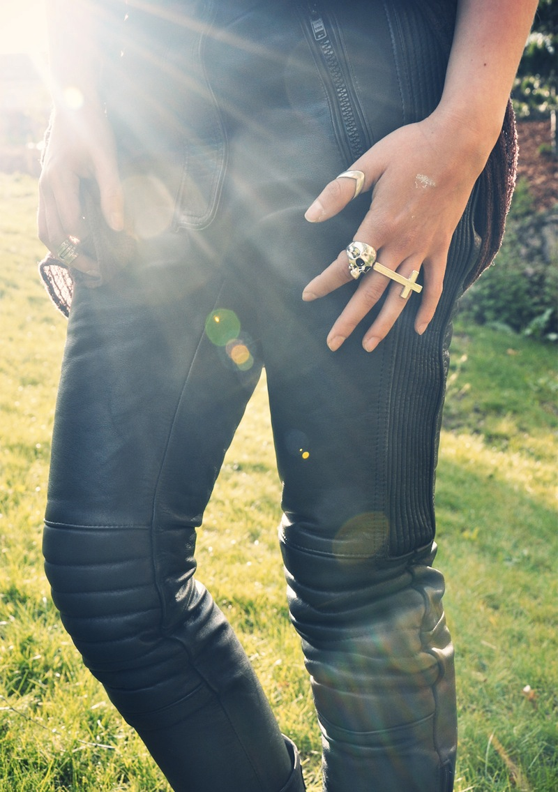 Refashioned biker pants OutsaPop photo Stella Harasek