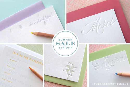 duet letterpress summer sale!