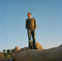 Scott the scot. (shores of conrad) Tags: sunset people 120 film nature mediumformat square outdoors desert joshuatree portra400 rolleicordva scottthescot