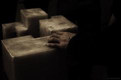 Leaning on Art's Shoulder. (rabanlandsman) Tags: italy sculpture vatican rome art museum point support shoot hand darkness snapshot age rest shoulder