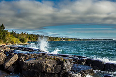 Lake Superior North Shore (jamin1317) Tags: duluth northshore lakesuperior lake water waves splash rocks sky minnesota photography canon t3i